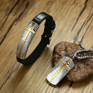 2-Piece Cross Genuine Leather Bracelet and Damascus Steel Necklace