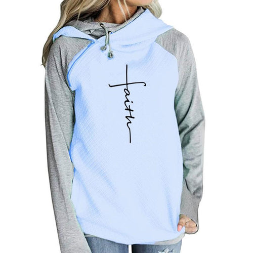 Two-Tone Faith Cross Hoodie with Side Zipper