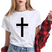 Load image into Gallery viewer, Christian T- Shirt Women Cross Believe