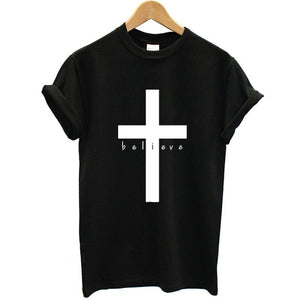 Christian T- Shirt Women Cross Believe