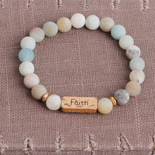 Load image into Gallery viewer, Natural Beaded Stones Love Faith Forever Bracelet