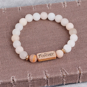 Natural Beaded Stones Love Faith Forever Bracelet