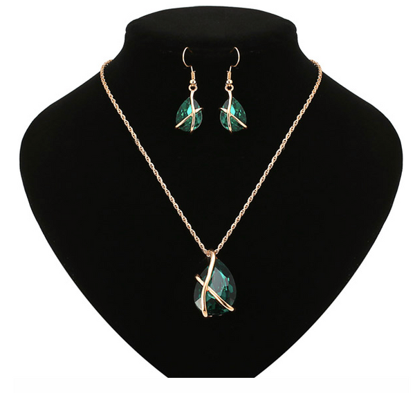 Eternity Emerald Stone  Necklace + EARRINGS