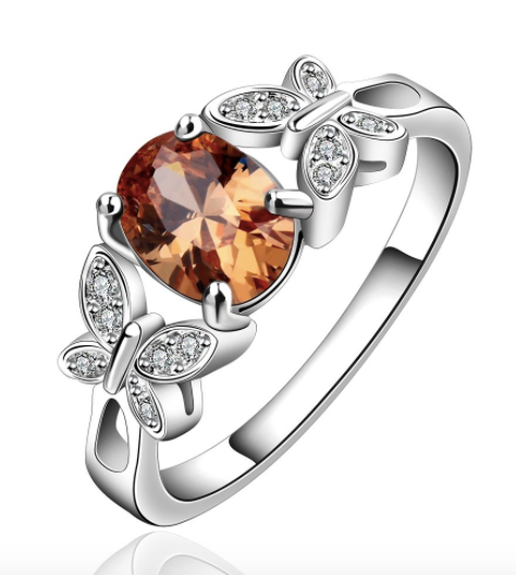 Eternity Topaz Sterling Silver Plated Ring