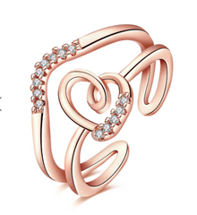 Eternity Rose,Gold Plated Multilayer Heart-shaped Zircon Ring