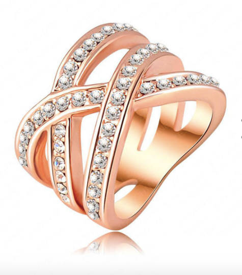 Eternity Rose 18K Gold Plated Double Cross Austrian Crystal  Ring