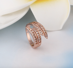 Eternity Rose Gold Plated Crystal Finger Rings