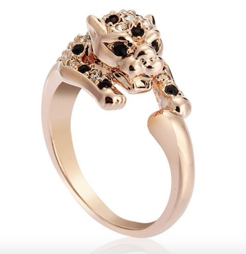 Eternity Rose Gold  18K  Italina Crystal Leopard Ring