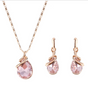 Eternity Rose Gold  Rhinestone Pendant Necklace Earrings
