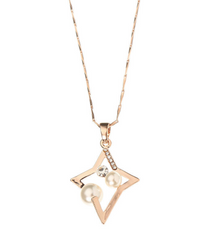 Eternity Rose Gold Plated Pearl Zircon Pendant Necklace