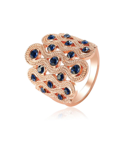 Eternity Rose Gold  Zircon Wide Wave Ring