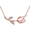 Eternity Rose Gold Rhinestone Faux Opal Rose Flower Necklace