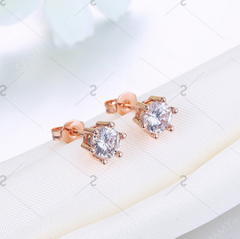 ETERNITY ROSE GOLD Sparkly Rhinestone Stud Tiny Earrings