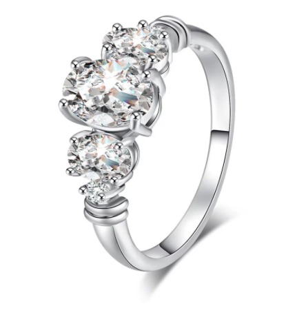 Eternity Diamond Oval Zircon Embellished Ring