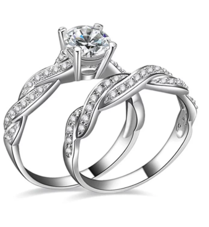 Eternity Diamond Faux Couple Rings