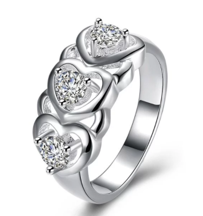 Eternity Diamond Rhinestone Engraved Heart Shaped Ring