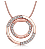 Eternity Rose Gold Rhinestone Double Ring Polished Necklace