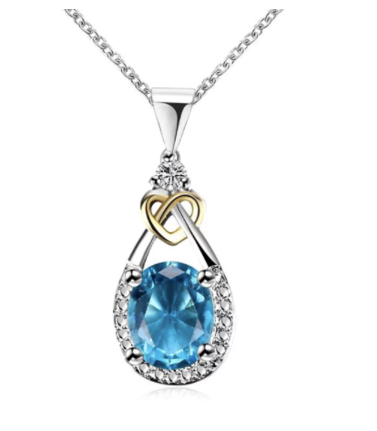 Eternity Faux Gem Heart Teardrop Pendant Necklace