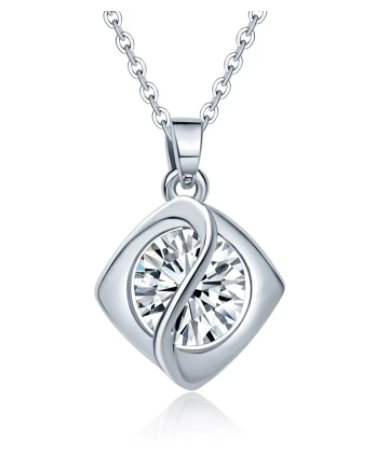 Eternity Diamond Rhombus Pendant Necklace