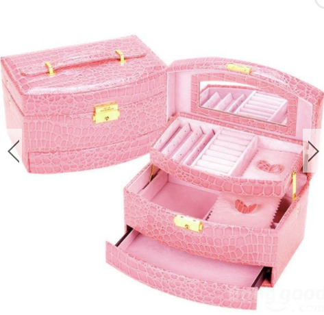 Crocodile Mirror Cosmetic Jewelry Box Organizer Display Storage Case