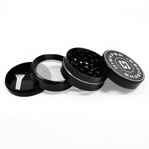 "vaporsandthings.com:2.0"" Highper Shredder Zinc Alloy Grinder, 4 part, Black"
