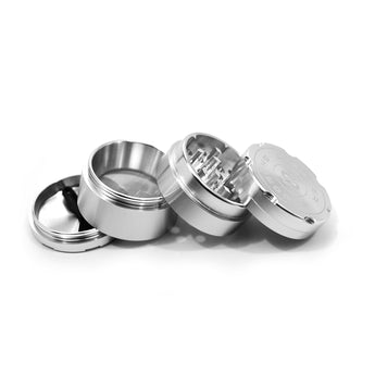 "vaporsandthings.com:1.5"" Highper Shredder Aluminum Grinder, 4 part, Silver"