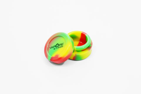 vaporsandthings.com:Vapors & Things 1.3in Rasta Round Silicone Container