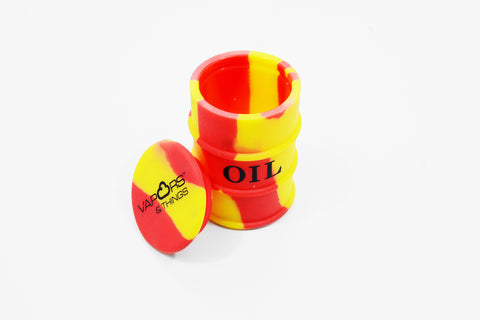 vaporsandthings.com:Vapors & Things 1.6in Red and Yellow Oil Drum Silicone Container