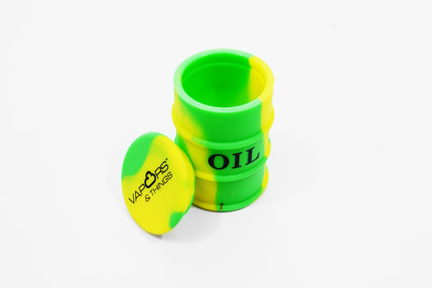 vaporsandthings.com:Vapors & Things 1.6in Green and Yellow Oil Drum Silicone Container