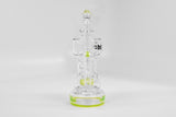 vaporsandthings.com:9.1in Holistic Beer Mug Bubbler With Double Showerhead Perc. Bent Straw Mouthpiece. Slyme