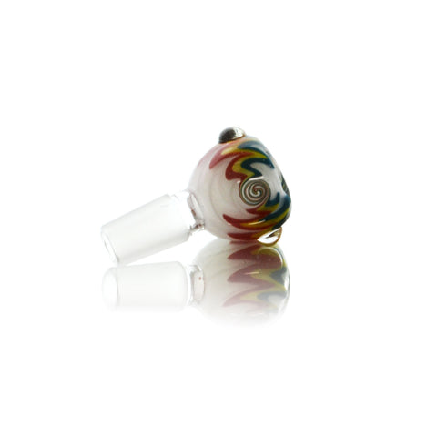 vaporsandthings.com:Tri-Color Pattern 18mm Male Bowl with Frosted Glass on Glass Joint