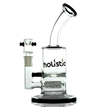 vaporsandthings.com:Holistic Bubbler with Fixed Inline Barrel Perc and Disc Perc. Black