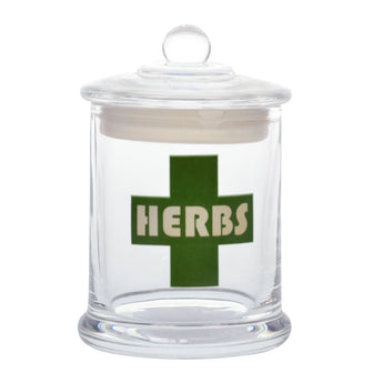 vaporsandthings.com:Herbs Cross Graphic Glass Jar