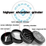 "vaporsandthings.com:2.0"" Highper Shredder Zinc Alloy Grinder, 4 part, Gunmetal"