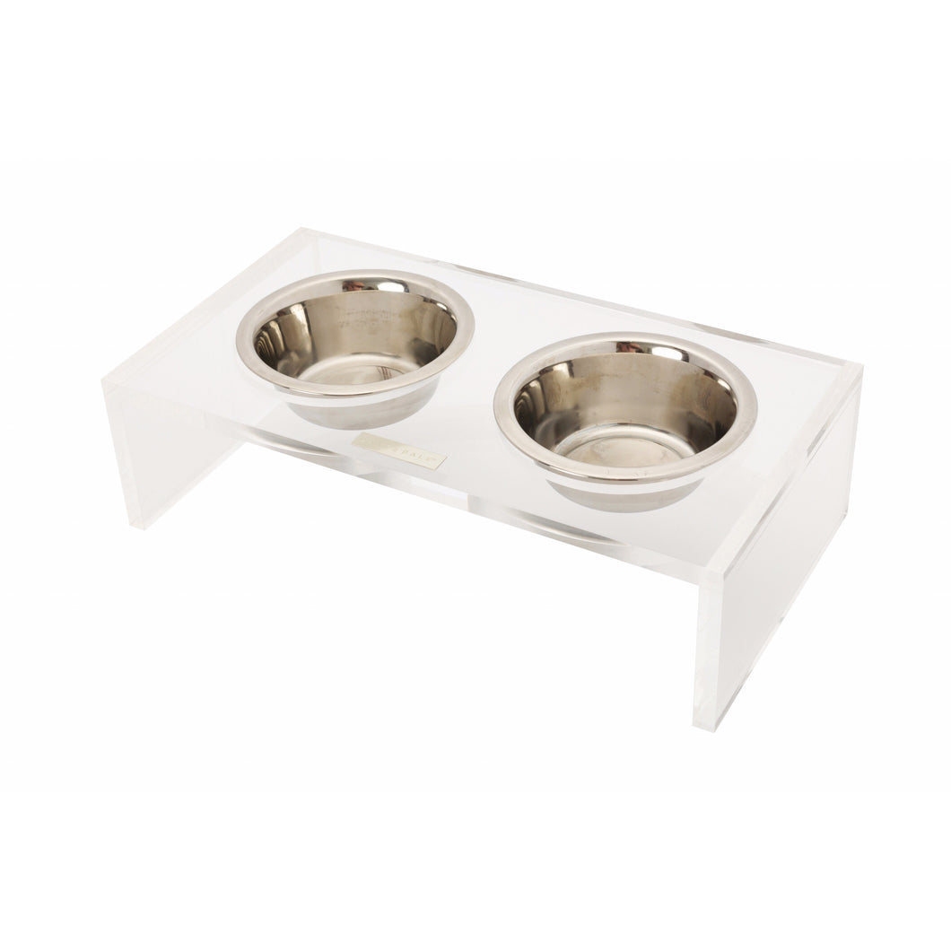 NEVILLE CLEAR ACRYLIC DOG DINING TABLE - MORE SIZES AVAILABLE