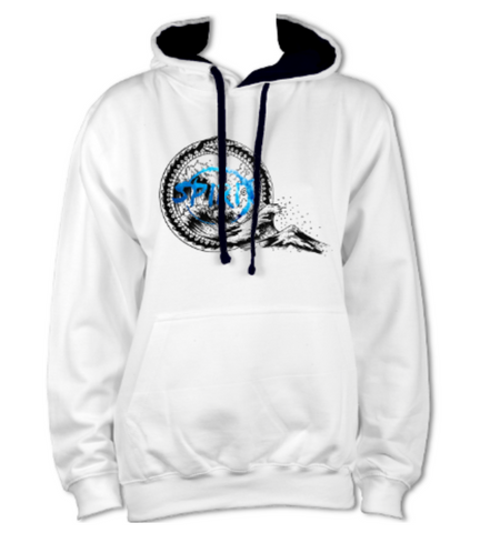 White / French Navy Hoodie