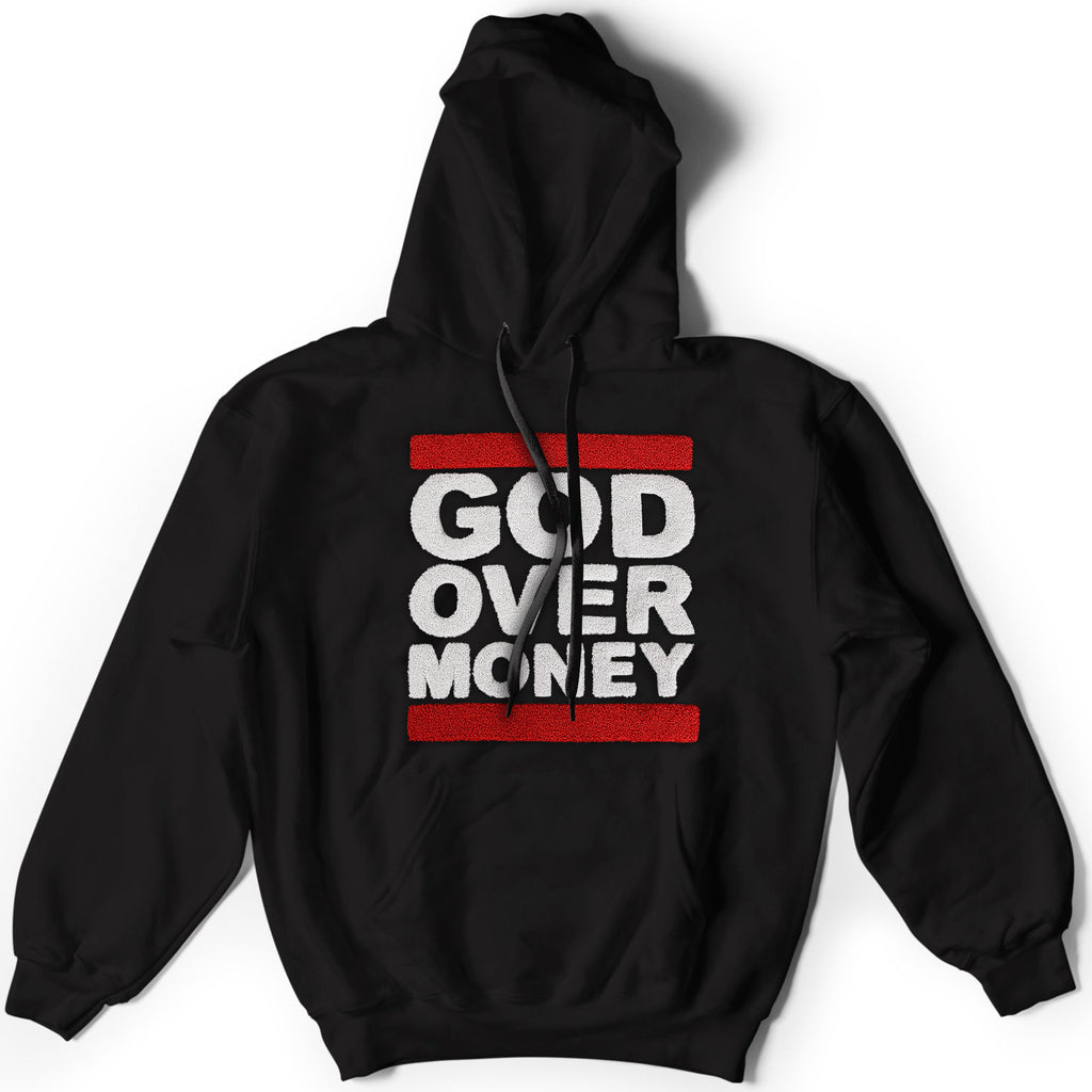 God Over Money Chenille Stitched Hoodie