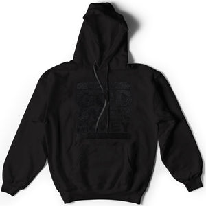 God Over Money Chenille Hoodie (Black on Black)