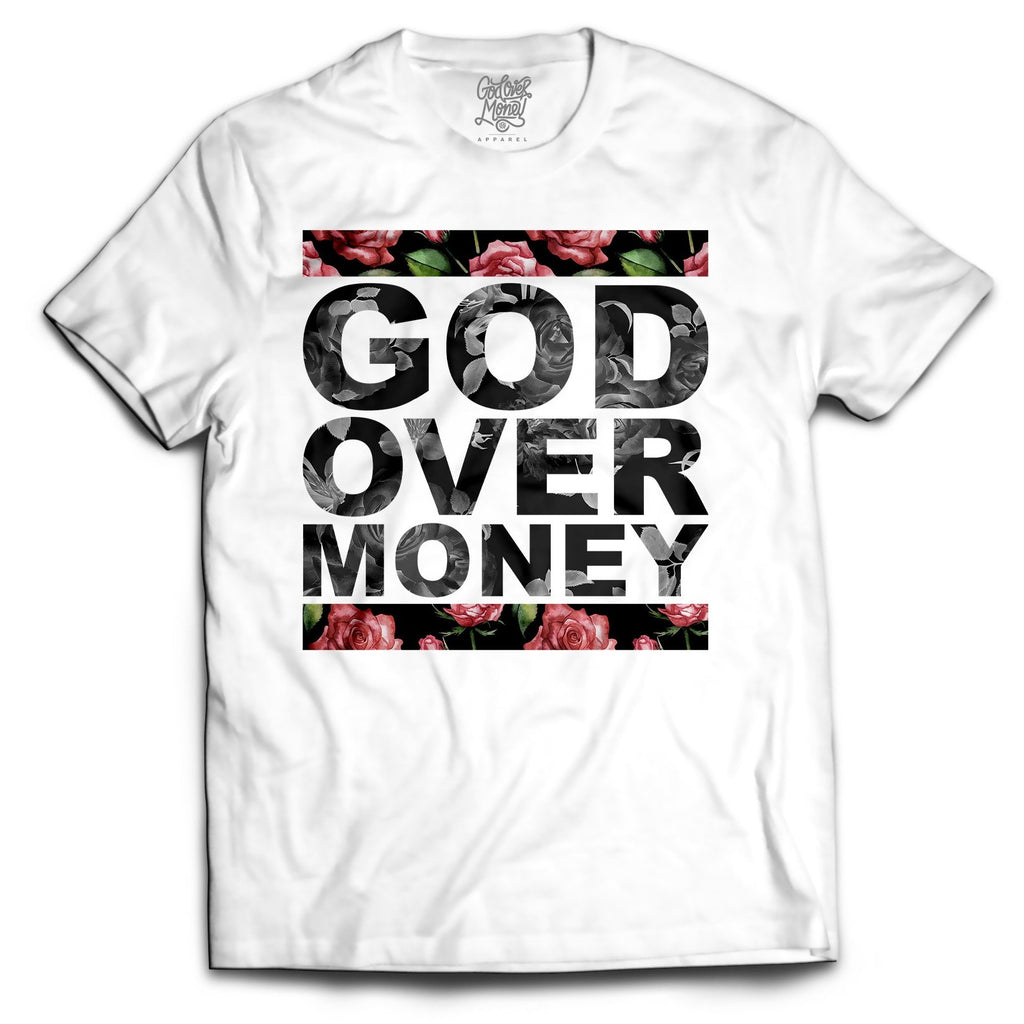 God Over Money White Floral Tee