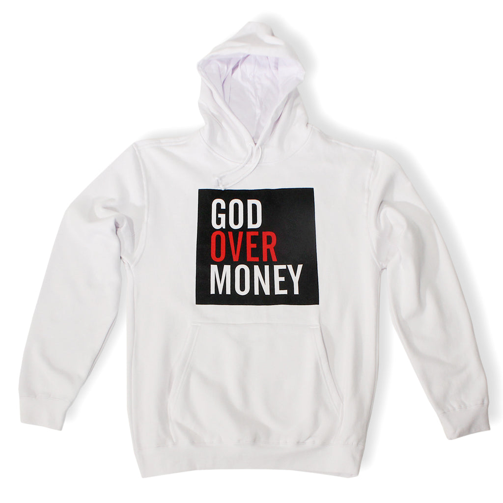 God Over Money Box Logo Hoodie ( White )