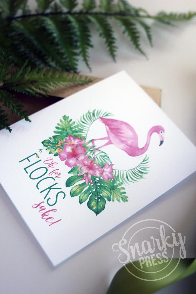 Oh for Flocks Sake Flamingo Card