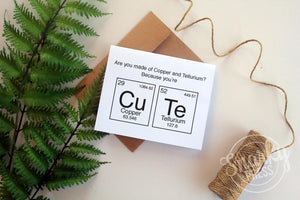 "Funny Science card for Friend ""Cu Te"""