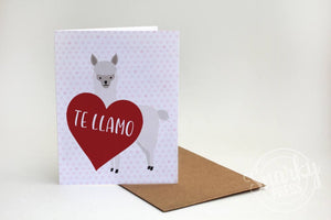 Te llamo love card for the llama lover