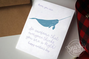 Narwhal Whale Mother's Day Card