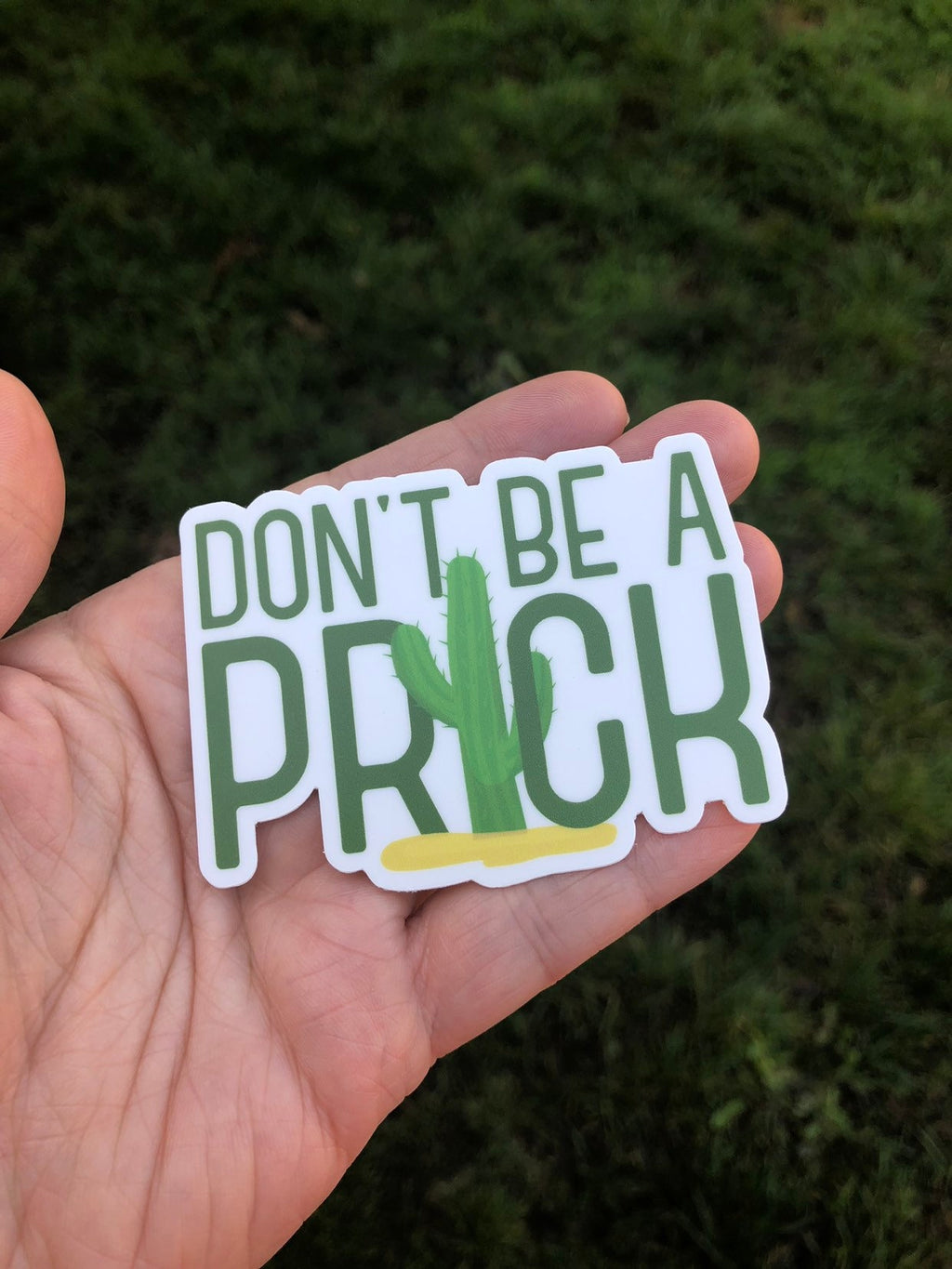 Don't be a prick cactus sticker