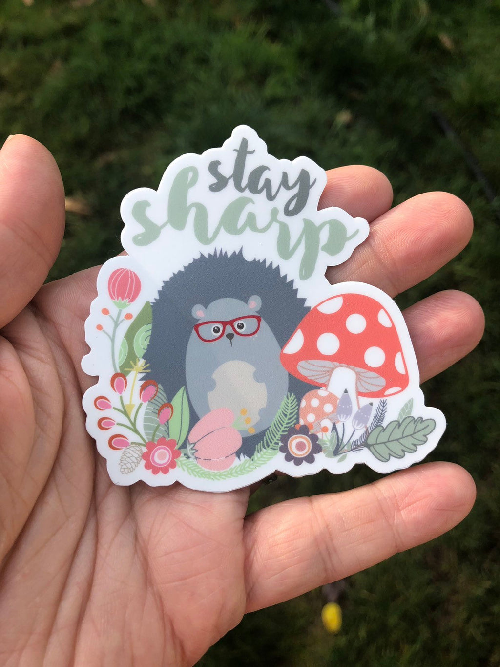 Stay Sharp hedgehog sticker