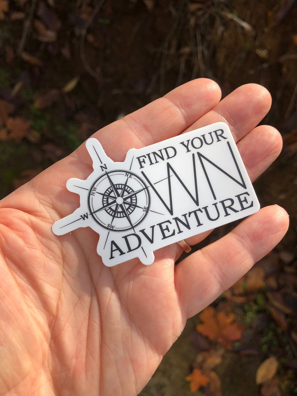 Find your own adventure compass sticker