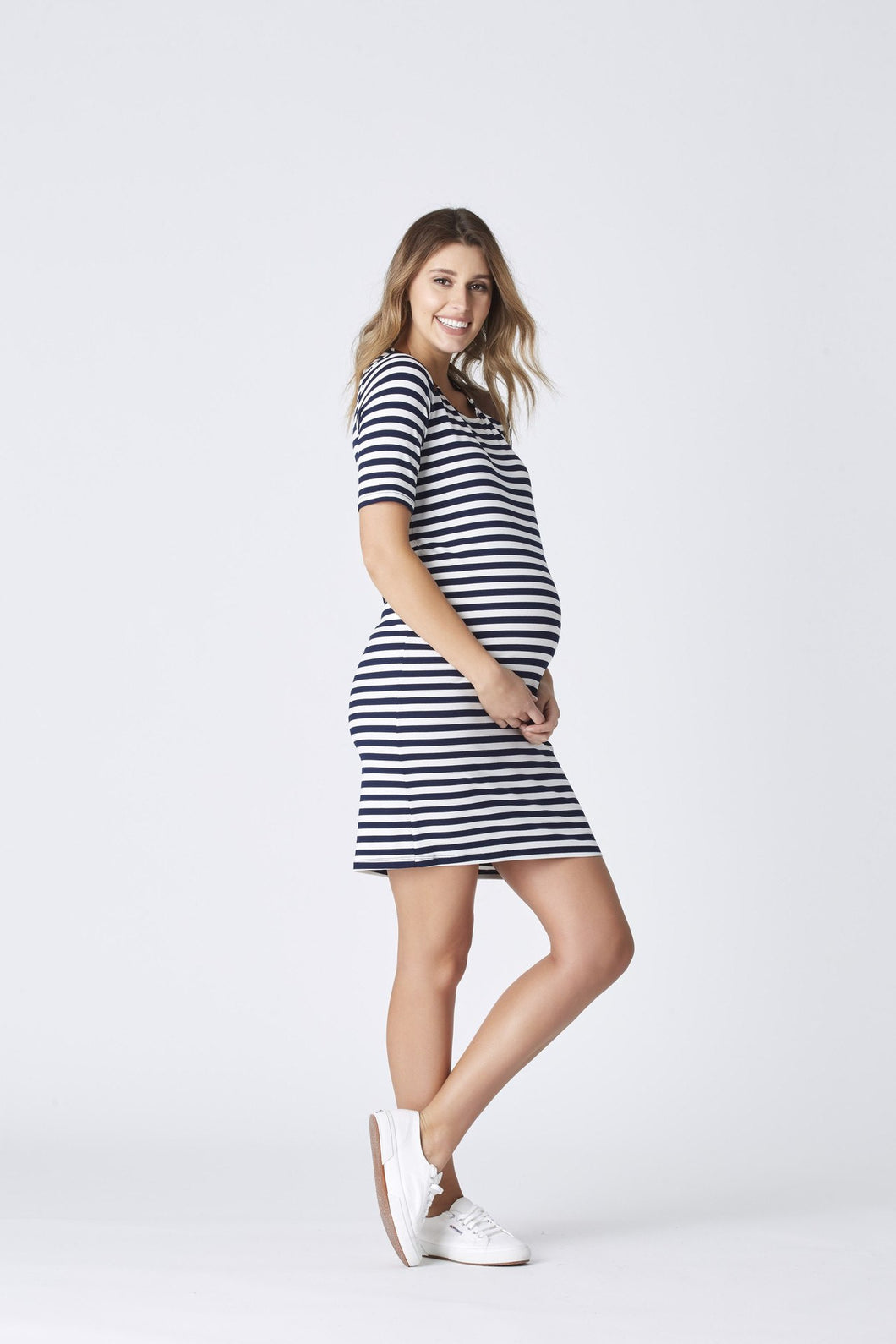 Brooklyn Stripe Dress - Mid Sleeve - Cozy Bump Pregnancy Pillow