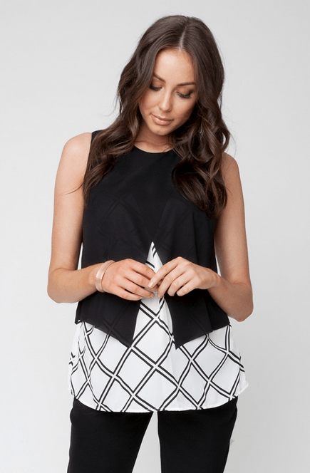 Grid Crossover Blouse