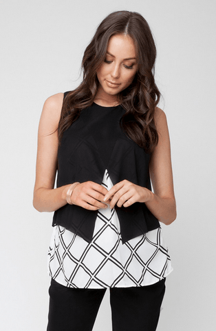 Grid Crossover Blouse - Cozy Bump Pregnancy Pillow